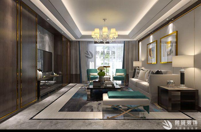西安群贤道九号190四居室混搭风格装修效果图-张锋设计作品2
